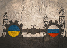 Russian and Ukrainian flags on gears Royalty Free Stock Photography