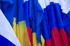 Russian and Ukrainian flags Stock Photo