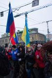 Russian and Ukrainian flags together for the funeral March of the opposition to the memory of Boris Nemtsov Stock Photography