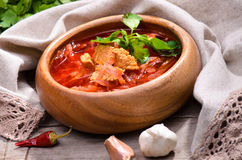 Russian and Ukrainian national red soup Stock Photos