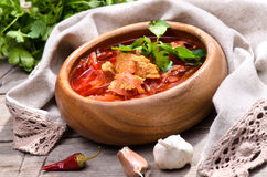 Russian and Ukrainian national red soup Stock Photography