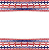 Russian, ukrainian and scandinavian national knit styled border, red and blue colors Stock Photography