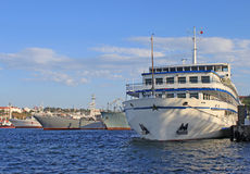 Russian and Ukrainian ships in Sevastopol royalty free stock photo