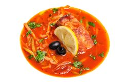 Russian and Ukrainian soup solyanka Royalty Free Stock Image