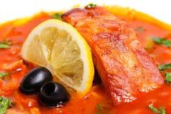 Russian and Ukrainian soup solyanka Royalty Free Stock Images