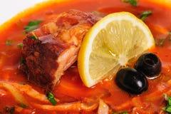 Russian and Ukrainian soup solyanka. AKA saltwort or barilla Royalty Free Stock Photo