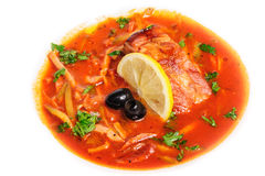 Russian and Ukrainian soup solyanka Royalty Free Stock Image