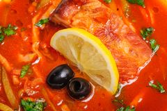 Russian and Ukrainian soup solyanka Stock Image