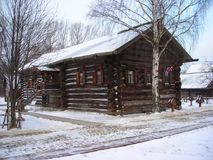 Russian unique wooden hut Royalty Free Stock Photography