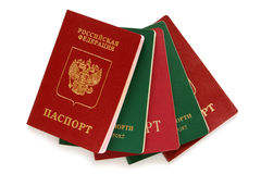 Russian and Uzbekistan passports Stock Images