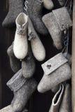 Russian  valenki. The Traditional russian winter footwear - valenki. The Handiwork Stock Images
