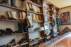 Russian Valenki felt boot Museum, Myshkin, Russia. MYSHKIN, RUSSIA - JUNE 18, 2017: Inside the Folk Crafts Museum Russian felt boot Valenki. Yaroslavl Region Royalty Free Stock Photography