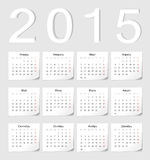 Russian 2015 vector calendar. With shadow angles Royalty Free Stock Photography