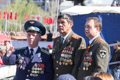 Russian veteran at the parade on annual Victory Day Stock Photo