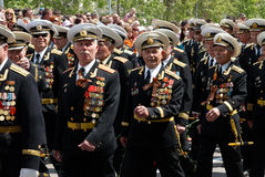 Russian veteran's parade. Royalty Free Stock Photo