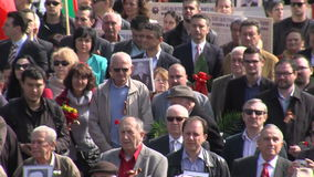Russian veterans on the square near the monument to Soviet soldiers in Sofia, Bulgaria stock footage