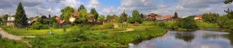 Russian village. Summer on river Royalty Free Stock Photo