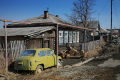 Russian village. Photo of the traditional russian village Stock Photo