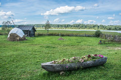 Russian village. On the banks of the river Volga in Uchma village, Yaroslavl region Royalty Free Stock Photos