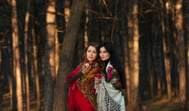 Russian village girls in headscarves in a forest Stock Images