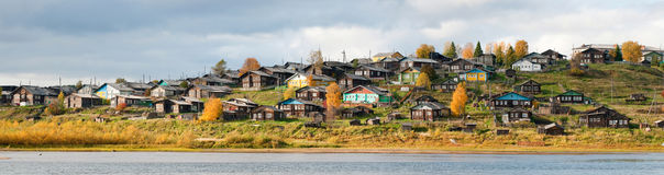 Russian village on a hill over the river Royalty Free Stock Photography