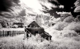 Russian village landscape b w. Russian village landscape bw infrared Russia crunch Stock Image