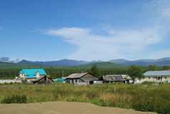 Russian village in the mountains Royalty Free Stock Image