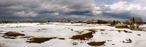 Russian village in the Siberian taiga Stock Image