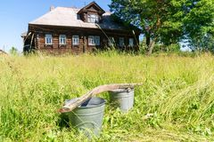 Russian village on summer sunny day Stock Photos