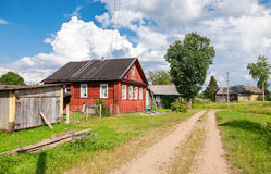 Russian village in sunny day Royalty Free Stock Photography