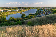 Russian village. Top view of the village and the lake Royalty Free Stock Photography