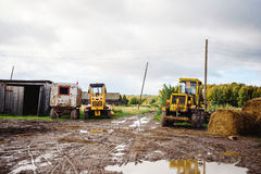 Russian village tractor Stock Photography