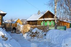 Russian village Visim in winter. Ural region, Russia Stock Photo