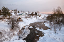 Russian village in winter Royalty Free Stock Photos