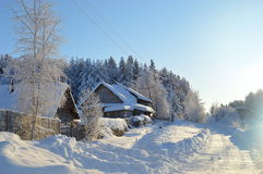 Russian village in the winter Royalty Free Stock Photography