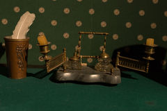 Russian Vintage accessories for writing. Old candlestick on a table with green cloth. Royalty Free Stock Images