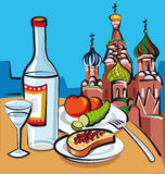 Russian vodka. And sandwich with caviar in cafe Stock Photos