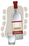 Russian Vodka. Illustration with a vodka bottle and glass, isolated on white background Royalty Free Stock Photos
