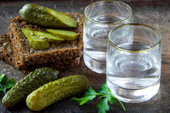 Russian vodka. In small glass with black bread, parsley and pickles Royalty Free Stock Image