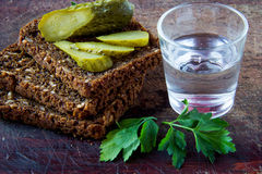Russian vodka. In small glass with black bread, parsley and pickles Stock Image