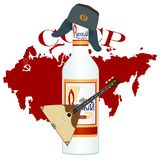 Russian vodka. With a balalaika on a background map of Russia. Abbreviation in Russian. The Soviet Union means the Union of Soviet Socialist Republics. The Royalty Free Stock Image
