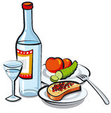 Russian vodka bottle. Illustration of russian vodka bottle with caviar Royalty Free Stock Photography