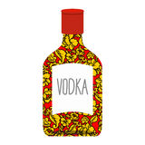 Russian vodka bottle Khokhloma painting. National folk alcoholic. Drink in Russia Stock Photography