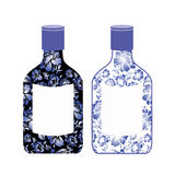 Russian vodka bottle painted Gzhel. National Folk alcoholic drin. K. Traditional pattern in Russia Stock Image