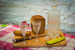 Russian vodka carafe bread stock photography