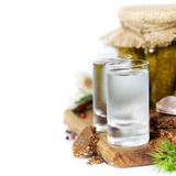 Russian vodka with traditional black bread and pickles Royalty Free Stock Photos