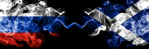 Russian vs Scotland, Scottish smoke flags placed side by side. Thick colored silky smoke flags of Russia and Scotland, Scottish stock illustration