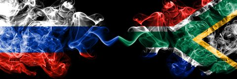 Russian vs South Africa, African smoke flags placed side by side. Thick colored silky smoke flags of Russia and South Africa,. African stock illustration