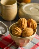 """Russian walnut shaped cookies with caramely filling – """"Oreshki"""". The perfect winter homemade traditional russian festive cookies stock photo"""