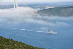 Russian wapship passes Bosphorus to Aegean Sea Stock Images